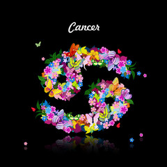 Pattern with butterflies, cute zodiac sign - cancer