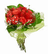 canvas print picture - red bunch of rose flowers isolated on white