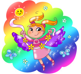 Fairy lady flying in a rainbow sky.