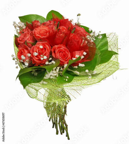 canvas print picture red bunch of rose flowers isolated on white