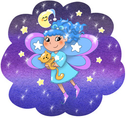Fairy lady flying in a starry night.