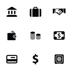 bank 9 icons set