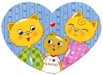 Cartoon cat grandson, grandfather and grandmother