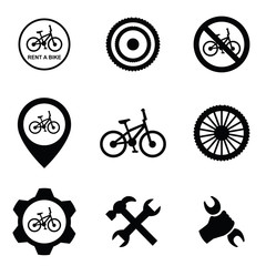 bicycle service 9 icons set