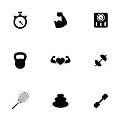 fitness 9 icons set