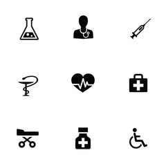 medical 9 icons set