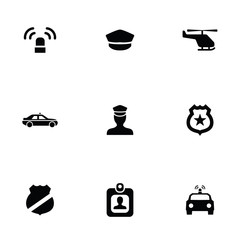 police 9 icons set