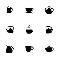coffee tea 9 icons set