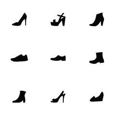 shoes 9 icons set