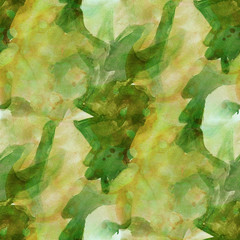 pattern design seamless watercolor texture green, yellow backgro