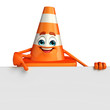 canvas print picture - Construction Cone Character with sign