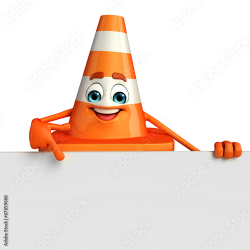 canvas print picture Construction Cone Character with sign