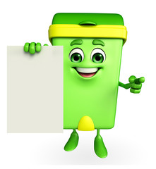 Dustbin Character with sign