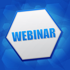 webinar in hexagon, flat design