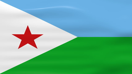 Waving Djibouti Flag, ready for seamless loop.