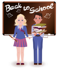 Back to School. Little schoolchild, vector