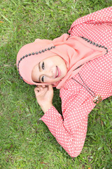Beautiful muslim girl pink hijab wearing fashion