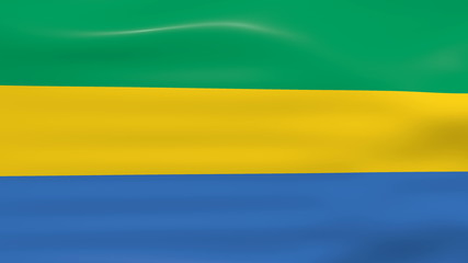 Waving Gabon Flag, ready for seamless loop.