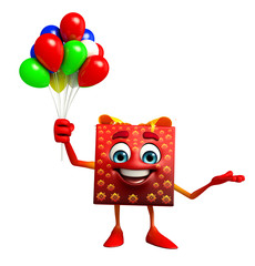 Gift Box Character with Balloons