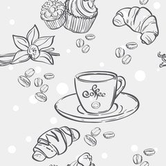 Seamless pattern with cup of coffee, croissants and muffins