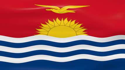 Waving Kiribati Flag, ready for seamless loop.