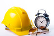 Safety helmet isolated with alram clock