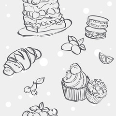 Seamless pattern with cupcakes image, croissant and flan