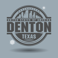 Stamp or label with text Denton, Texas inside, vector