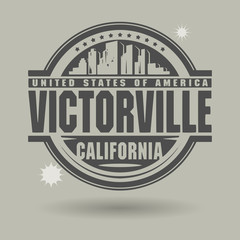 Stamp or label with text Victorville, California inside