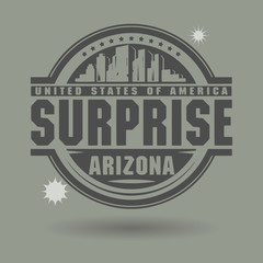 Stamp or label with text Surprise, Arizona inside, vector