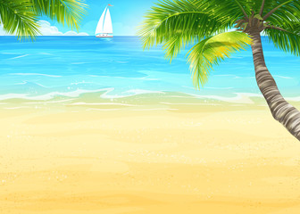 Illustration of the beach and ocean with palm trees and sailing