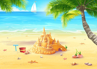 Illustration of the sea shore with palm trees, seashells