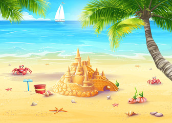 Illustration holiday by the sea with sand castle