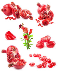 Collections of Pomegranate fruits isolated on white background