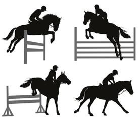 Horses jumping a hurdle. Vector silhouettes set