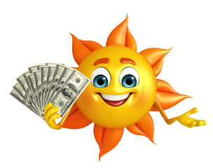 Sun Character With dollars
