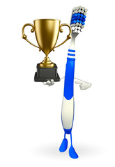 Toothbrush Character with trophy