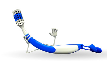 Toothbrush Character with hello pose