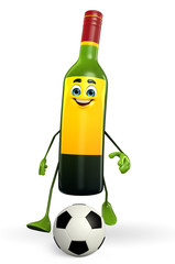 Wine Bottle Character with football