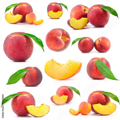 canvas print picture Collection of Fresh peaches with leaf isolated on white backgrou
