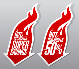 Hot discounts fiery symbols.