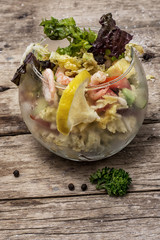 salad with shrimps, sea breeze