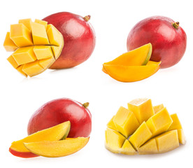 Collections of Ripe mango with slice isolated on white
