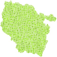 Map of Lorraine - France - in a mosaic of green squares