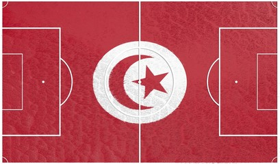 football field textured by tunisia national flag