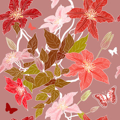 Vector seamless pattern with clematis flowers