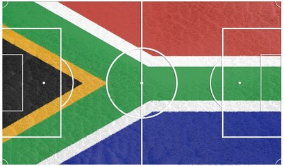football field textured by south african republic national flag