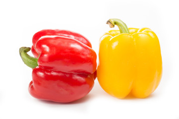 Red and Yellow capsicum isolated