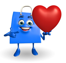 Shopping bag character with heart