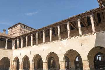 loggia in main courtyard at  Sforzesco Castle, Pandino